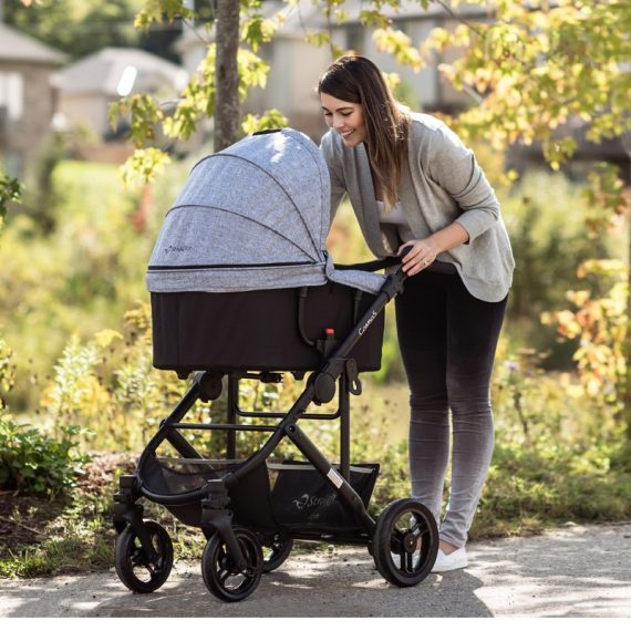 StrollAir CosmoS Grey Single Stroller with Bassinette